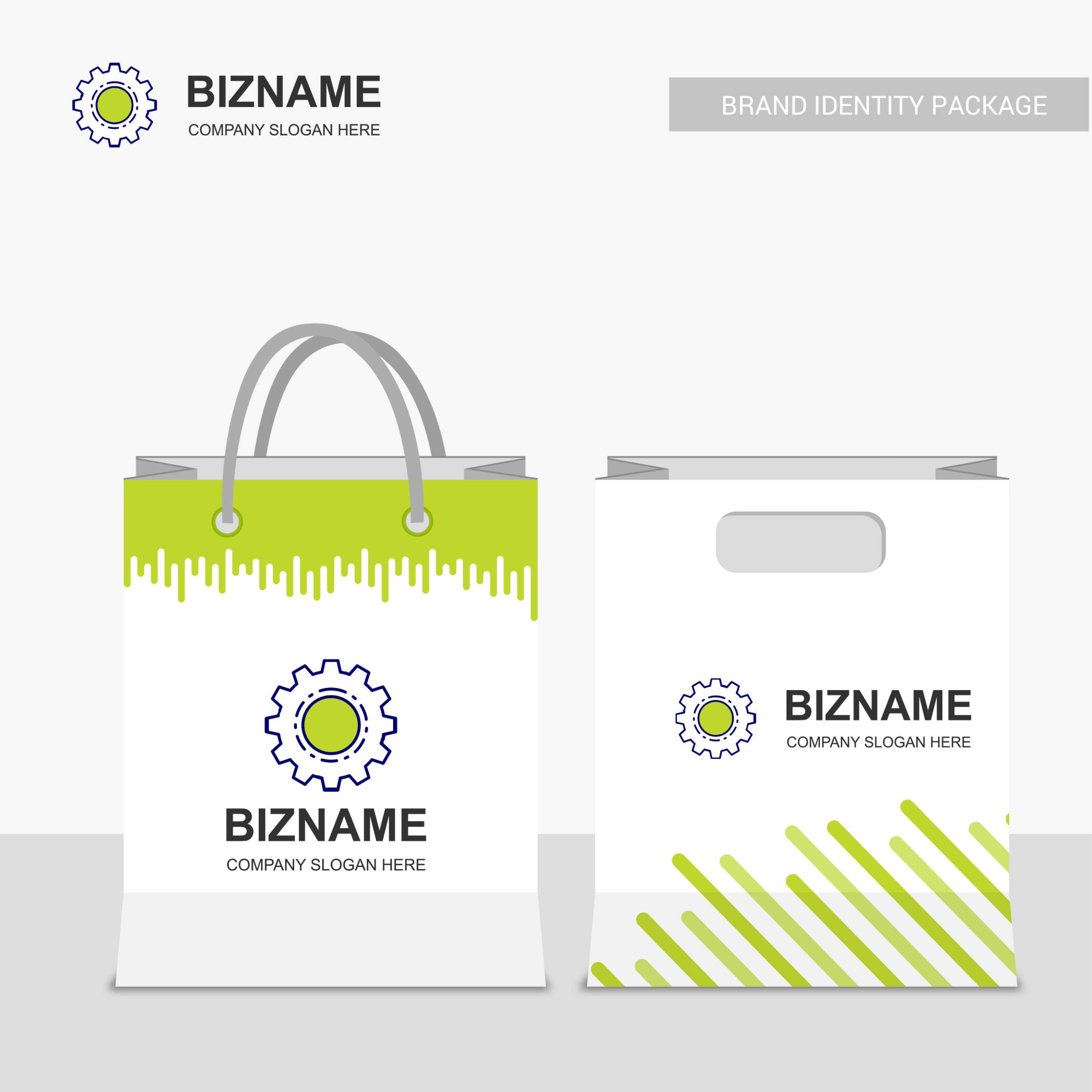 Company shopping bags design with gear logo vector