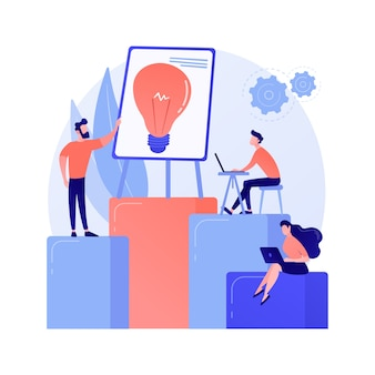 Company teamwork, idea generation. discussion, meeting, conference. corporate workers characters brainstorming, business strategy planning