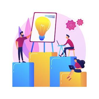 회사 팀워크, 아이디어 생성. 토론, 회의, 회의. 기업 근로자 캐릭터 브레인 스토밍, 비즈니스 전략 기획.