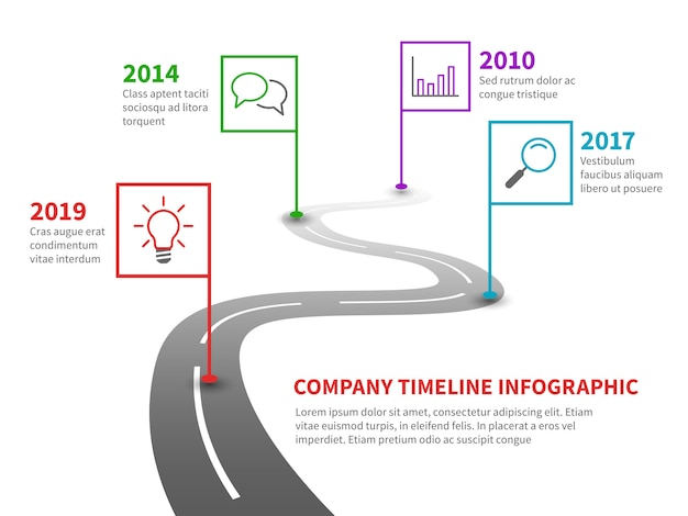 Company timeline. milestone road with pointers, history process line chart on winding pathway infographic