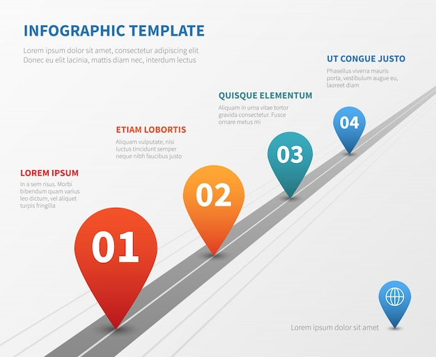 Company timeline vector infographic. milestone road with pointers