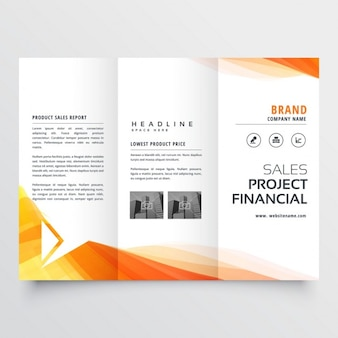 Company trifold brochure with yellow wave