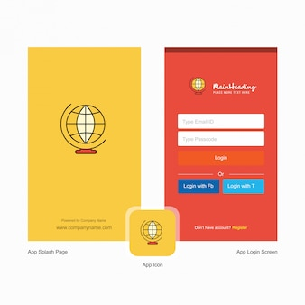 Company world globe  splash screen and login page  with logo template. mobile online business template