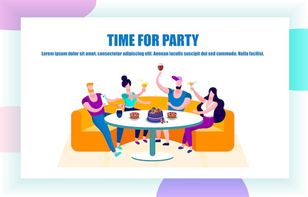 Company of young people having celebration, party
