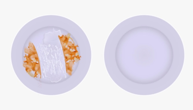 2つの皿を比較します。1つは汚れと洗剤が付いており、もう1つは3dイラストで空です。