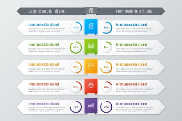Comparison chart template for infographic