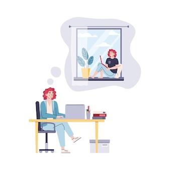 Comparison of freelance work vs office cartoon vector illustration isolated