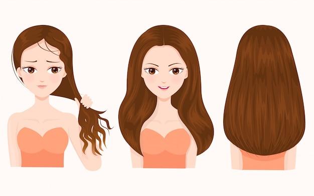 손상되고 아름다운 머리카락의 비교