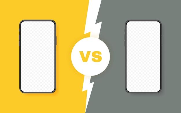 두 개의 다른 스마트 폰 비교. 비교를 위해 번개 볼트가있는 vs 배경. 삽화.