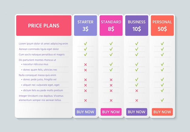 Comparison price table.   illustration. chart plan color template.