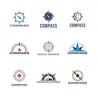 Установить compas логотип и значок векторные иллюстрации
