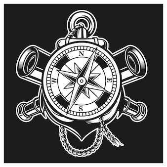 Compass, anchor and binoculars combination versi two