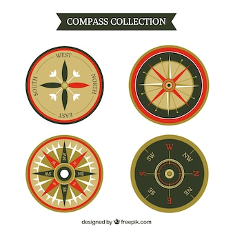 Compass collection in flat style