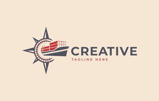 나침반 컨테이너 선박 로고 디자인 영감