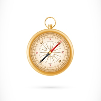 Compass in golden case illustration