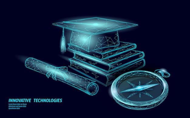 나침반 졸업 모자 교육. e- 학습 거리 개념. 대학원 인증서 국제 글로벌 프로그램 개념. 저 폴리 3d 교육 과정