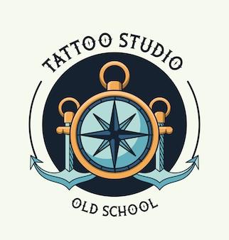Compass guide tattoo studio logo