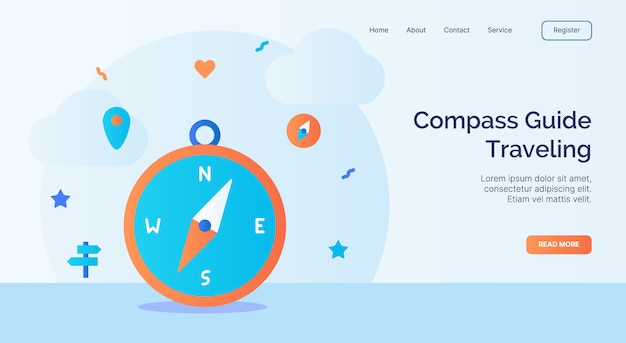Compass guide traveling icon campaign for web website home homepage landing template banner with cartoon flat style.