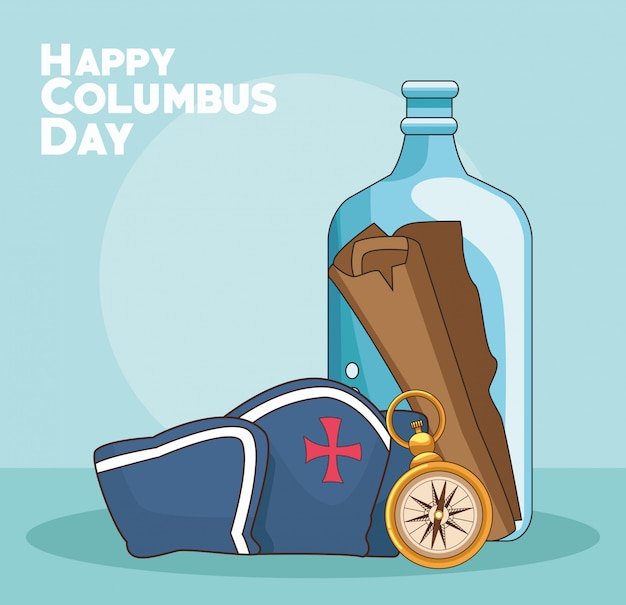 Compass and happy columbus day