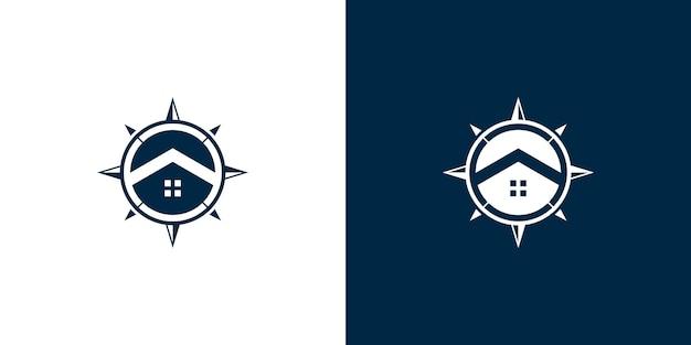 Compass and home logo design vector Premium Vector