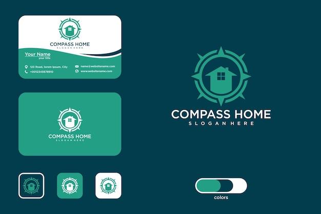 Компас дом дизайн логотипа и визитная карточка