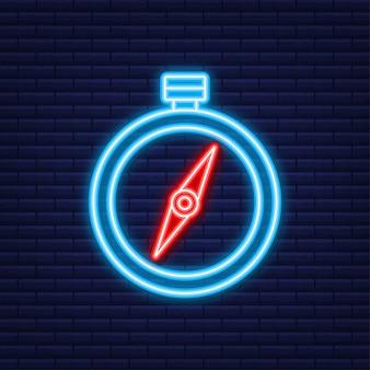 Значок компаса. плоский символ навигации. неоновая иконка. векторная иллюстрация.