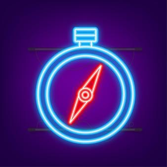 Compass icon. flat navigation symbol. neon icon. vector illustration.