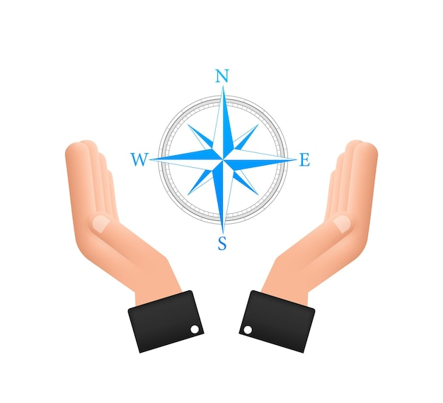 Compass icon over hands on white background flat vector navigation symbol