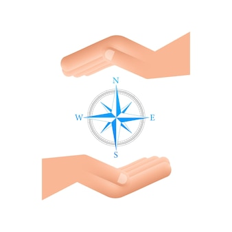 白い背景の上の手の上にコンパスアイコンフラットベクトルナビゲーションシンボル