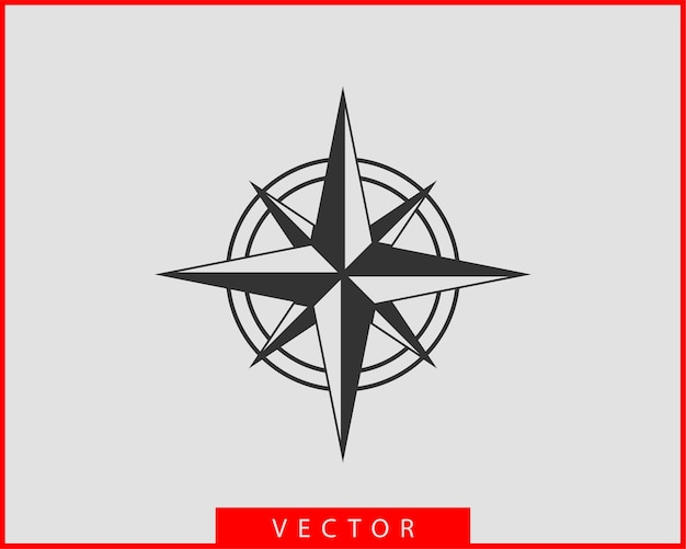 Compass icon . wind rose star navigation.