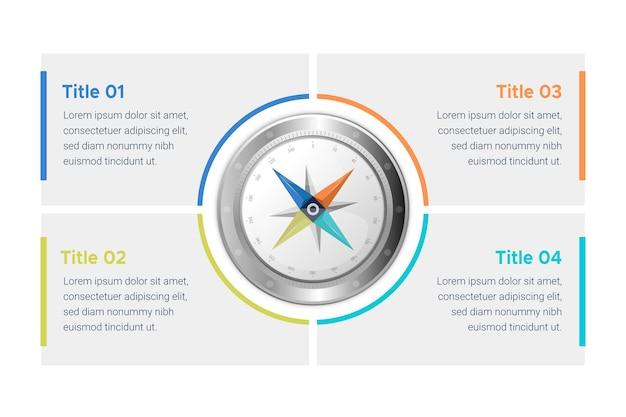 Компас инфографика в плоском дизайне