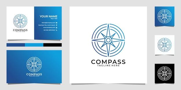 Компас линии искусства круг логотип и визитная карточка