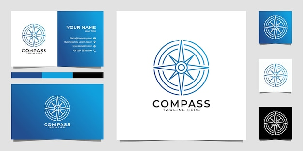 Compass line art circle logo  and business card