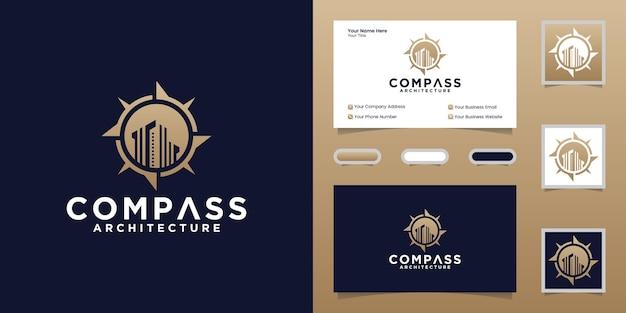 나침반 로고 및 건물 템플릿 및 명함 디자인