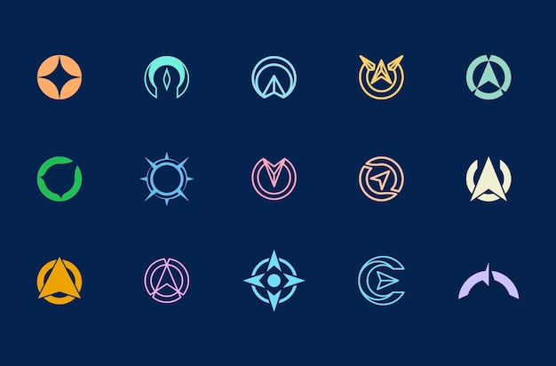 Compass logo design, set of abstract logo templates for identity