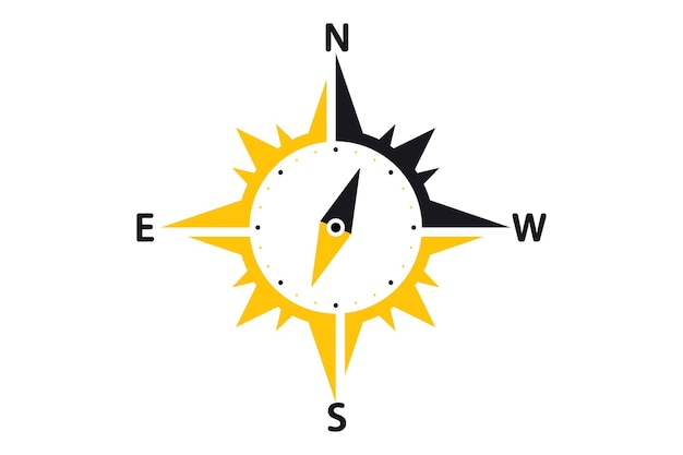 コンパスのロゴデザインテンプレート。クリエイティブコンパスコンセプト。東と西が示されています。矢印コンパスアイコン