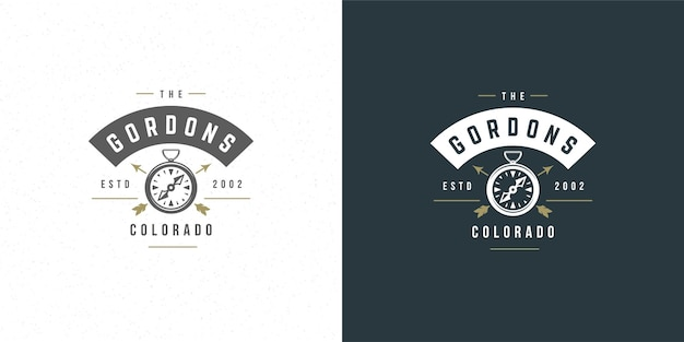 Compass logo emblem illustration outdoor expedition adventure for shirt or print stamp