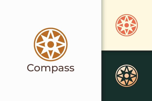 ハイテク企業のためのモダンで抽象的な形のコンパスのロゴ