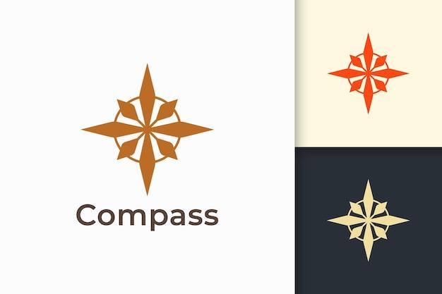 モダンな形のコンパスロゴは冒険と生存を表しています