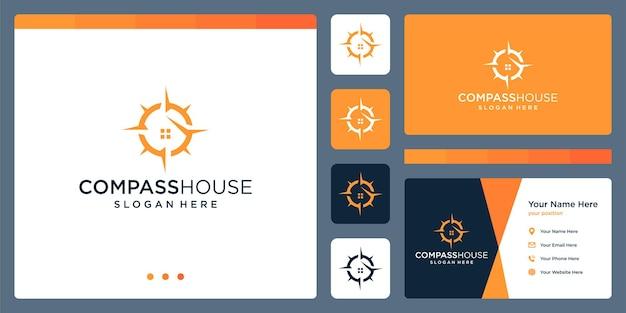 住宅建設のロゴとコンパスのロゴのインスピレーション。プレミアムベクトル