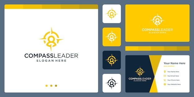 リーダーのロゴとコンパスのロゴのインスピレーション。プレミアムベクトル