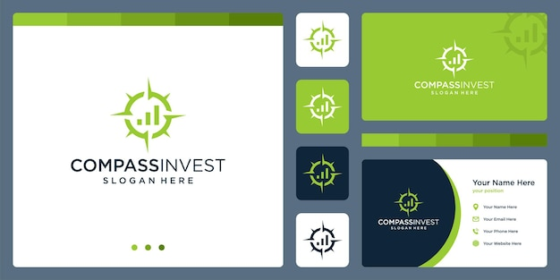 Compass logo inspiration with financial investment logo. premium vector