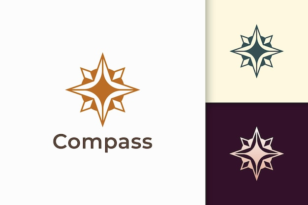 Compass logo in modern and luxury style with gold color