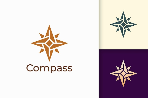 Compass logo in modern shape represent adventure and survival