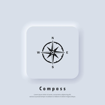 Compass logo. wind rose icon. north, south, east and west. vector. ui icon. neumorphic ui ux white user interface web button.