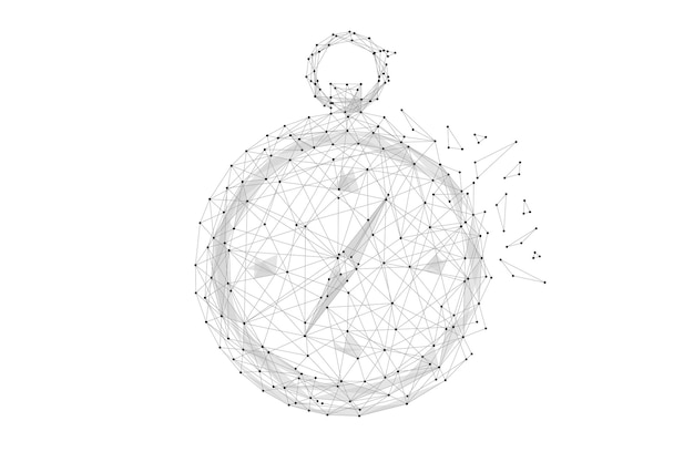 Compass low poly black on white abstrac image of a compass in the form of a starry sky or space