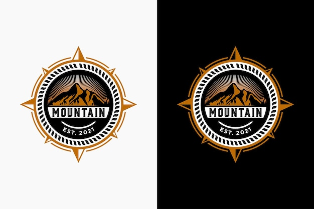 Compass and mountain for travel  adventure logo design inspiration