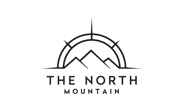 Compass and mountain for travel / adventure logo design