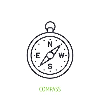 Compass outline icon vector illustration navigation equipment for orientation