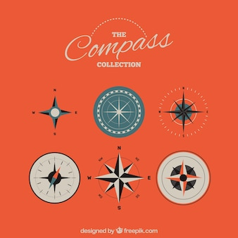 Compass pack in flat style